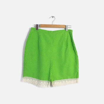 60s LIME Green Polka Dot Pin-Up SHORTS / 1950s High Waisted Cotton Crochet Trim Shorts M