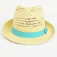 Ocean Breeze Open Weave Straw Fedora Hat with Ribbon Trim in Aqua | Sincerely Sweet Boutique