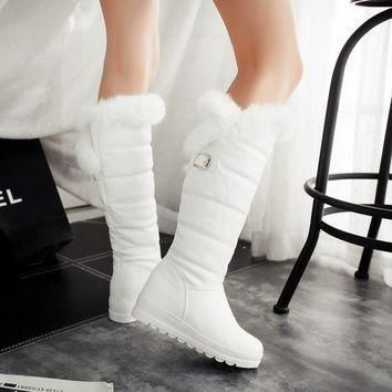 2015-winter-autumn-new-feathers-knight-knee-boots-women-fashion-slip-on-height-increas number 1