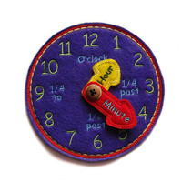 Learning Time Clock - Time Teaching Clock - Purple - Toddler - Educational Toy - Kids - Learng Toys