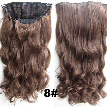 Bath & Beauty 7 Clip in Elastic Cap Wig Curly hair synthetic hair extension hairpieces wavy slice curly hairpiece SCH-888 8#,Hair Care,fashion Cosplay ombre 1PCS