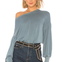 Bobi Exaggerated Sleeve Top in Light Blue