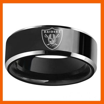 NEW DESIGN OAKLAND RAIDERS FOOTBALL TEAM BLACK 316L STAINLESS STEEL MEN RING JEWELRY