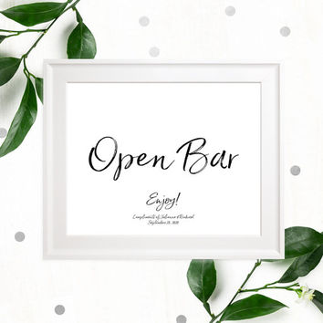 Open Bar Stylish Hand Lettered Printable Sign-Calligraphy Open Bar Wedding Sign-DIY Handwritten Style Wedding Reception Drinks Sign-Bar Sign