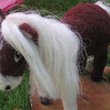 Needle felted horse. Needle felt animal. Handmade. Soft sculpture. Lovely brown and white horse. Wool felted horse.