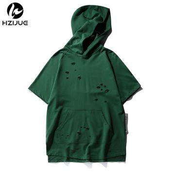 HZIJUE 2018 Oversized hole men T shirt kanye new street wear fashion summer hoodies hip hop top tees High street casual t shirt