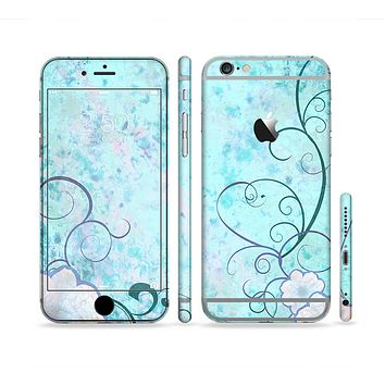 The Subtle Blue & Pink Grunge Floral Sectioned Skin Series for the Apple iPhone 6