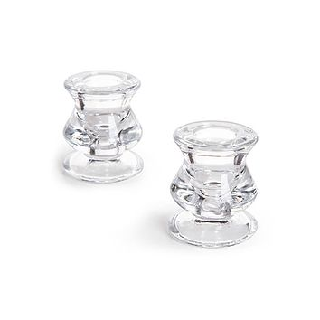 "Set of 2 Clear Glass Taper Candle Holders - 2.25"" Tall"