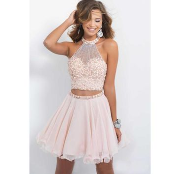 Vestido De Coquetel Custom Made Pink Halter Neck Beadings Sequins Two Piece A-line Cocktail Dresses Short Prom Party Gown
