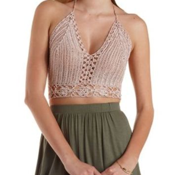 Rose Metallic Cropped Macrame Halter Top by Charlotte Russe