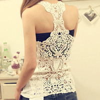 070519 Fashion back openwork crochet cotton camisole826