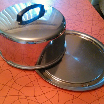 Mid Century Vintage Eveready Chrome Covered Cake Plate Made in USA Frederick MD