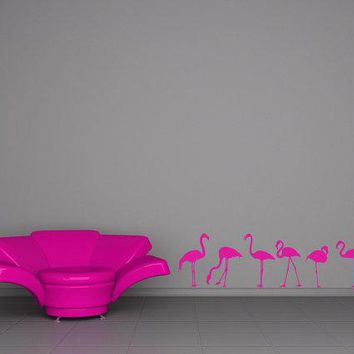 Pink Flamingos Flock   Decal Sticker Vinyl Wall Home Office Den Kitchen Decor
