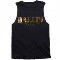 ALEX AND CHLOE / BALLIN IN PARIS - MUSCLE TEE - BLACK W/GOLD FOIL : ALEX & CHLOE - Brian Lichtenberg, Homies, Wildfox Couture, UNIF, Homies South Central at ALEX & CHLOE