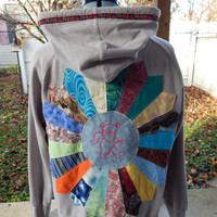 Upcycled Zip Up Gray Lightweight Hoodie Grateful Dead Patchwork Mandala OOAK Size Large Ladies Patchwork  Hippie clothes, Hoody
