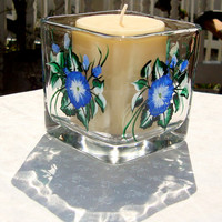 Blue Flower Candle/ Pot Pourri Holder
