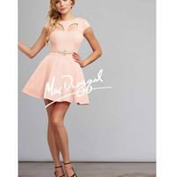 MacDuggal 30002 Blush Short Cap Sleeve Cut Out Dress 2015 Prom Dresses