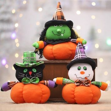 Halloween Decorations Pumpkin Witch Cat Ghost Dolls Funny Toy Ornaments Birthday Gift Toy For Home Party Decoration