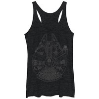 Star Wars Women's - Millennium Falcon Outline Racerback Tank