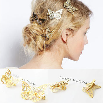 YouMap Women Shiny Golden Butterfly Hair Clip Headband Hairpin Accessory Headpiece Hair Accessories Y6R4
