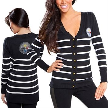 Cuce Pittsburgh Steelers Ladies The Quarterback Sweater - Black/White