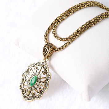 Top Quality Vintage Statement  Antique Gold plated 3 Color Resin Pendant &Necklace Nigeria Bohemia Women Jewelry YUN1053~055