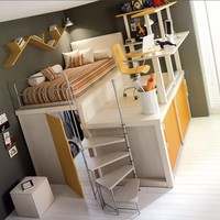 How awesome – loft bedrooms … but my kid would probably kill itself with the stool on wheels up there ;-)
