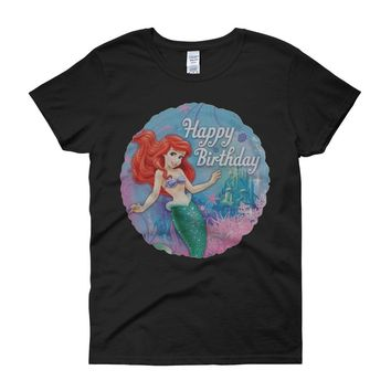 Disney Ariel The Little Mermaid Happy Birthday Women'S T Shirt