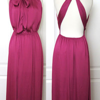 Pleated Fuchsia Satin Halter Bow Tie Backless High Slit Maxi Dress