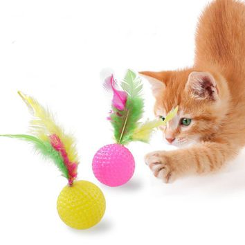 Pet Cat Kitten Toy Rolling Feather ball Funny Cat Kitten Play Dolls Tumbler Ball Pet Cat Toys Interactive Feather Toy H1