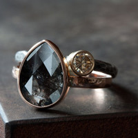 Custom Natural Rose Cut Black Diamond Engagement Ring