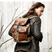 Deluxe leather and canvas backpack for men | day tripper rucksack from Vintage rugged canvas bags
