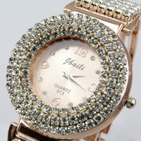 Hot Luxury Jewelled Lady's Wrist Watch Gift Rose Gold