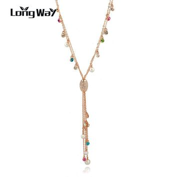 LongWay Multicolor Pendant Tassel Necklace Women Simulated Pearl Crystal Gold Color Long Necklace Bijoux Sne160128
