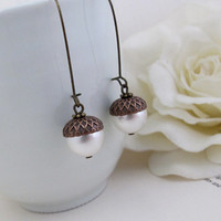 Acorn Earrings. Swarovski Crystal Pearls Antiqued Copper With Antiqued Brass Long Dangle Earrings Nature Fall Inspired Ear Jewelry