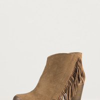 Side Fringe Ankle Booties - Taupe - 10