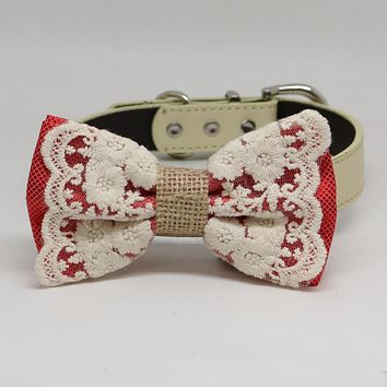 Coral Dog Bow Tie collar, Lace and Burlap, Handmade dog collar, Lace bow tie