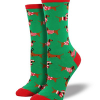 Socksmith Christmas Haute Dog Green Socks