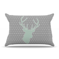 "Pellerina Design ""Winter Deer"" Gray Green Pillow Case"