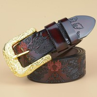 New Arrived High Quality Cow leather Men Belt Fashion Brand Dragon Designer Strap Belt Pin Buckle Male Cool Waistband