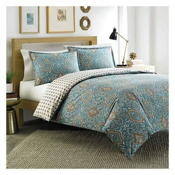City Scene Milan Reversible Comforter Set in Turquoise & Tan