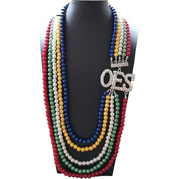 Order of the Eastern Star Jewelry OES Color Long Pearl Necklace