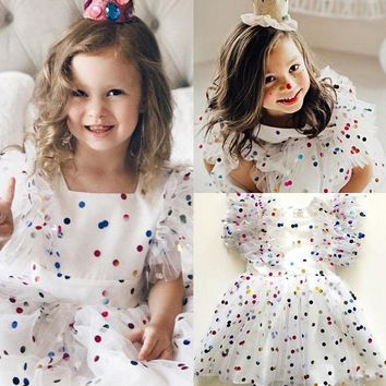 USA Kids Baby Girl Pageant Party Birthday Tulle Tutu Dress Sundress Clothes wea