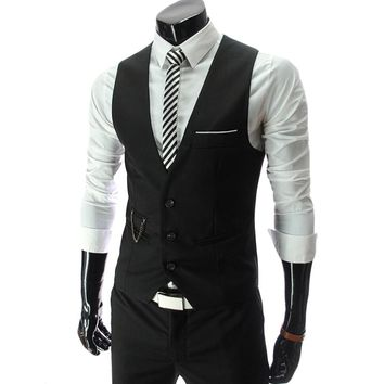 2018 New Arrival Formal Suit Vest Men Slim Fit Mens Vest