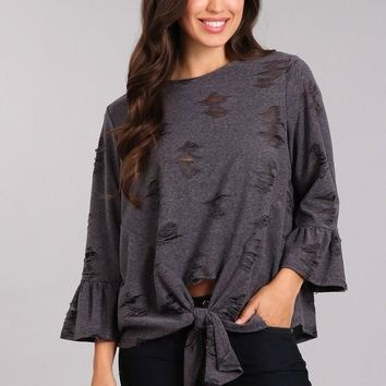 Slashed Knit Top with Round Neckline - Grey