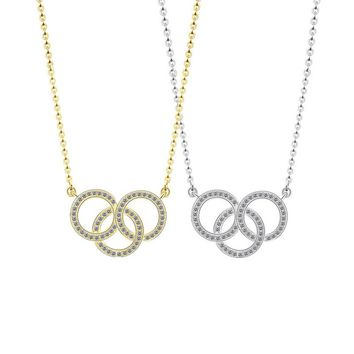 Fashion Brand Love CZ Crystal Three Circle Pendant Necklace Female Jewelry Gold-Color Cubic Zirconia Simple Elegant Necklaces