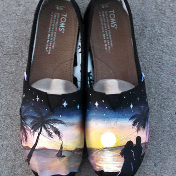 Hand Painted Shoes Custom TOMS Romantic Sunset Beach Themed Wearable Art Honeymoon Custom Shoes New Custom Kicks Wedding Gift Ideas