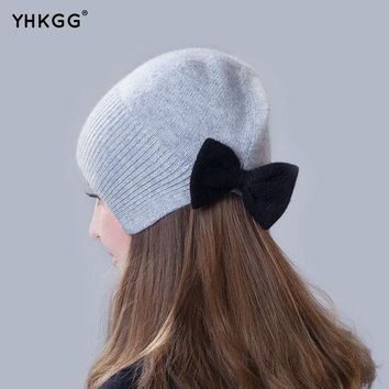 DCCKWQA 2016 brand new thin section thin section elegant ear cap with a bow Knitting beanies Pom Pom Hat