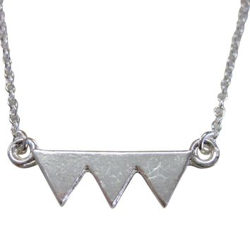 Silver Toned Geometric Three Triangle Design Pendant Necklace