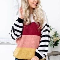 Red and White Color Block Knit Sweater